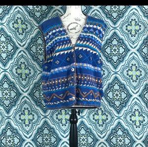 Orvis brand vintage knit boho vest